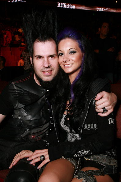ANAHEIM, CA - JANUARY 24:  Wayne Static and Tera Wray pose at the Affliction Banned Fight: Day Of Reckoning at the Honda Center on January 24, 2009 in Anaheim, California.  (Photo by Tiffany Rose/WireImage)